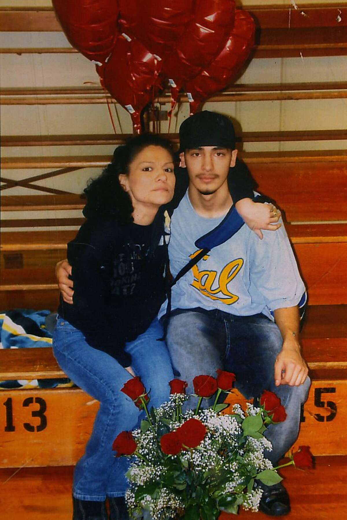 A photo of Deana Campbell (left) with her son Aaron Campbell (right) in Laytonville, Calif.