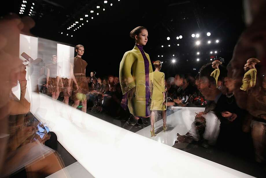 Fall's softly rounded shoulder was out in force at Ralph Rucci's collection shown at Lincoln Center during Mercedes-Benz Fashion Week. Photo: Jemal Countess, (Credit Too Long, See Caption)