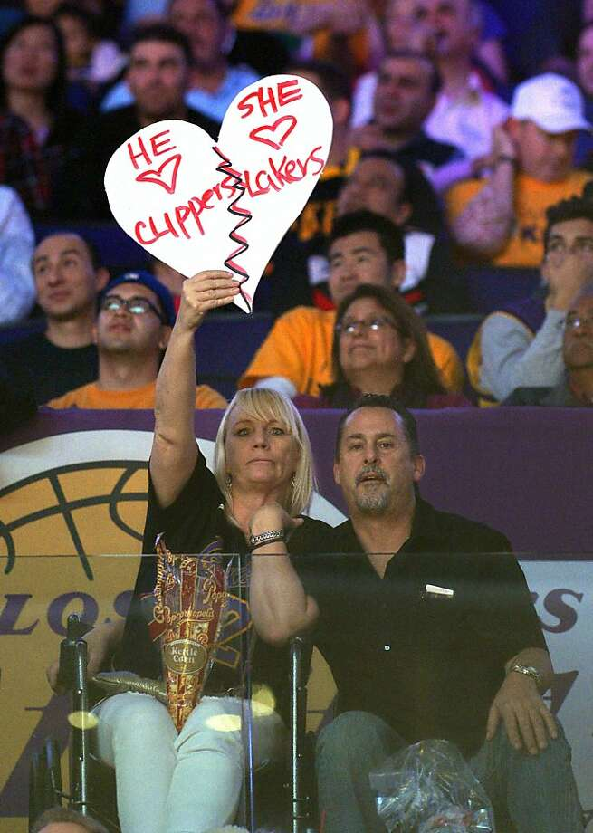 We give it three more months: While it's theoretically possible to be a Lakers fan and love a Clippers fan or vice versa, in practice few of these relationships ever succeed. Photo: Mark J. Terrill, Associated Press