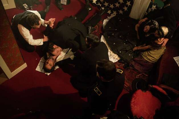 The scene following the shooting of Abraham Lincoln by John Wilkes Booth at Ford's Theater in the television film Killing Lincoln based on the best-selling book by Bill O'Reilly.â?¨ Photo: Kent Eanes, Handout / ONLINE_YES