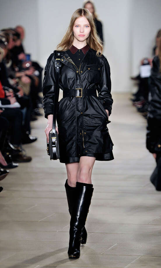 In this photo provided by  Belstaff, a model walks the runway during the Belstaff Fall 2013 fashion show during Fashion Week, Monday, Feb. 11, 2013, in New York. (AP Photo/ Belstaff) Photo: Express-News /  Belstaff