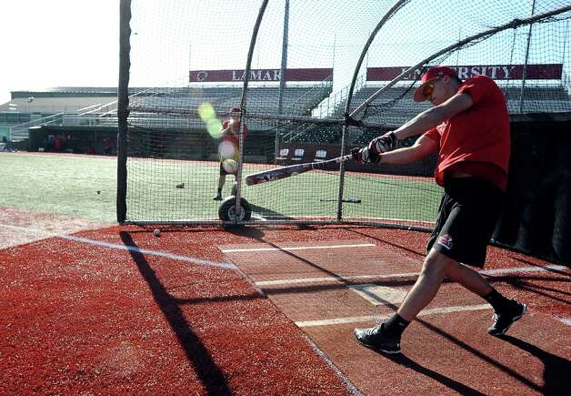 Lamar University baseball player Brandon Provost takes batting practice at Vincent-Beck Stadium on Thursday, February 14, 2013. Photo taken: Randy Edwards/The Enterprise