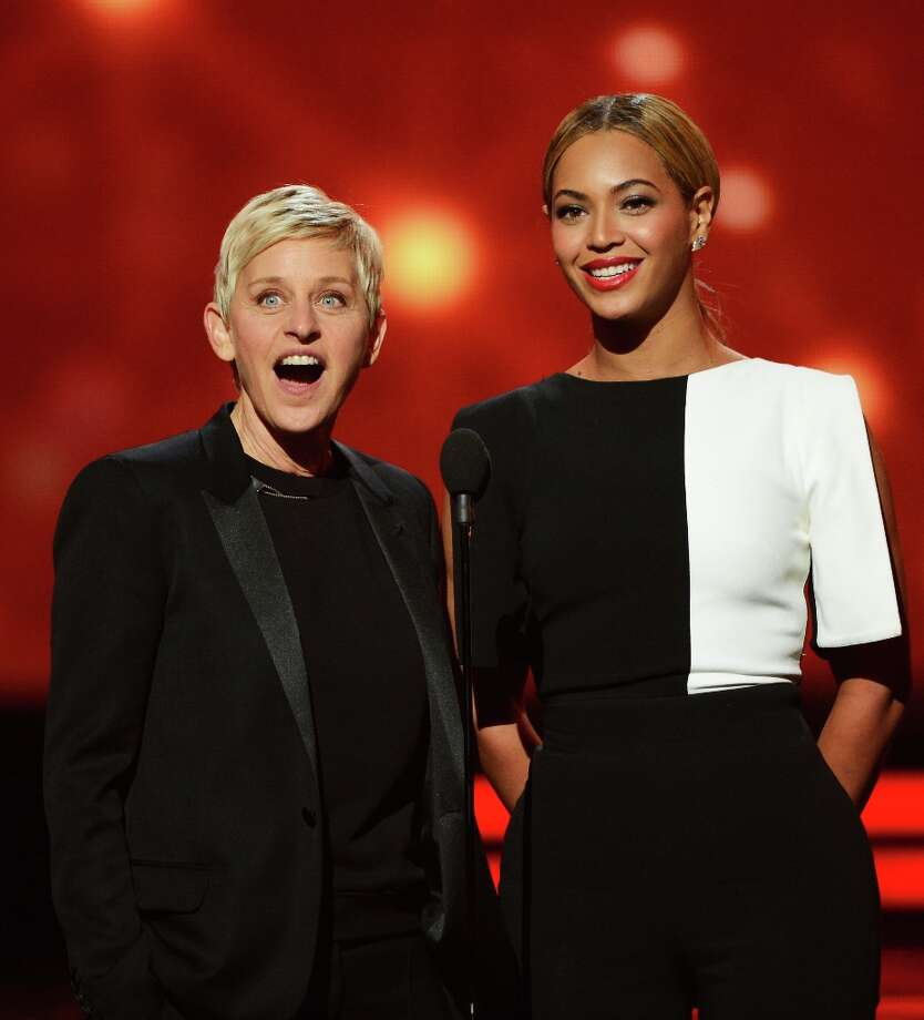 Beyonce and Ellen DeGeneres speak onstage at the 55th Annual Grammy Awards in Los Angeles on Feb. 10. Photo: Kevork Djansezian / 2013 Getty Images