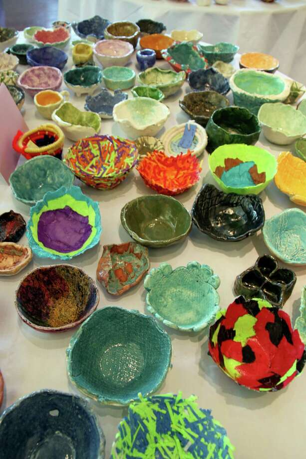 Students in all grade levels contribute bowls they make in art classes to the Empty Bowls project, which will be held this year on Feb. 23. Tickets are $10.