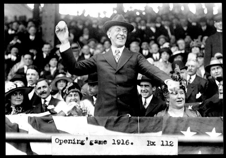 President Woodrow Wilson throws out the ceremonial first ball to start the Washington Senators' season on Opening Day 1916. Photo: NYT / NYTNS