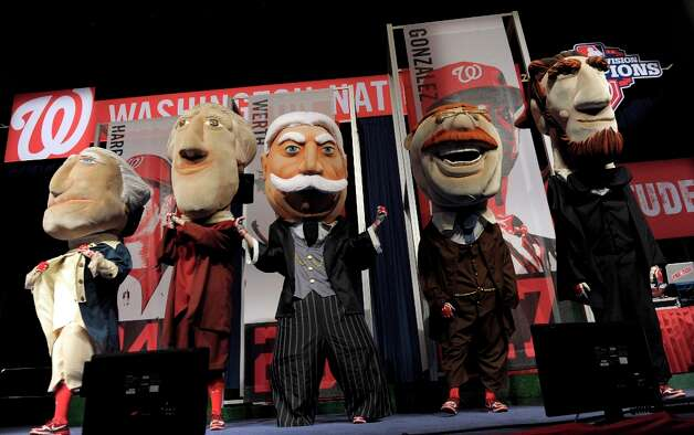 And the most important ballpark Presidents of all: the Washington Nationals' Presidents racers. They are, from left, George Washington, Thomas Jefferson, William Taft, Theodore Roosevelt and Abraham Lincoln. Photo: Susan Walsh, Associated Press / AP