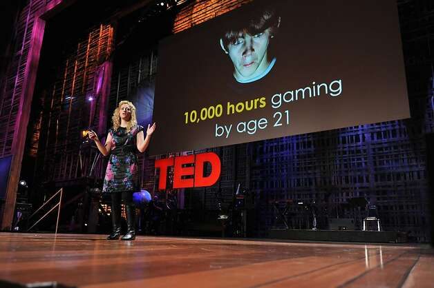 "Game designer Jane McGonigal gives her talk, ""Invention,"" at TED in 2010. Photo: TED / James Duncan Davidson"