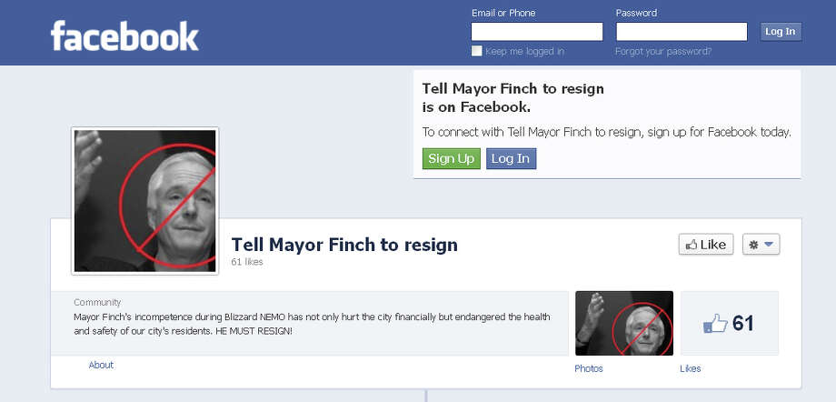 A screen grab of the Facebook page asking for Bridgeport Mayor Bill FinchâÄôs resignation. Photo: Contributed Photo / Connecticut Post Contributed