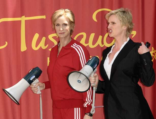 Jane Lynch at the 2010 unveiling of her wax figure at Madame Tussauds in Hollywood.
