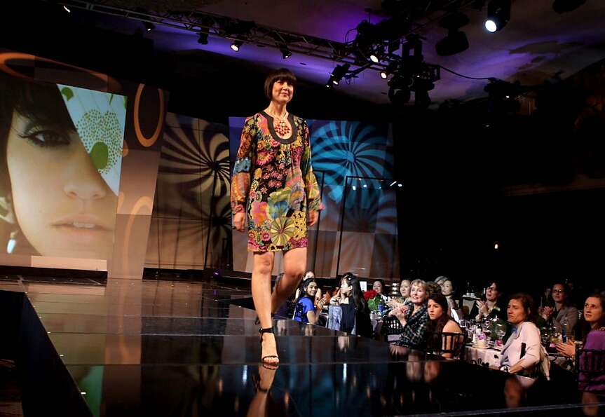 Clockwise from left: Designer Trina Turk walks on the runway after her collection was presented a