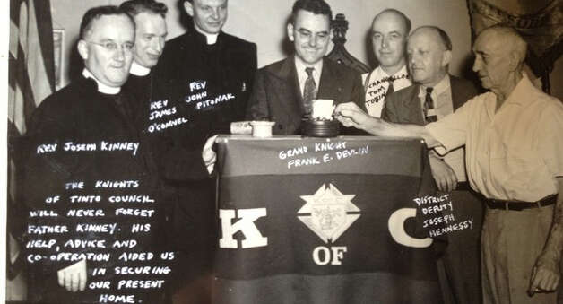 Milford clergy in 1948 join Grand Knight Frank E. Devlin in honoring the Rev. Joseph Kinney, who served as chaplain of the Tinto Council #47 for many years. The council is marking its 125th anniversary this year. Photo: Contributed Photo