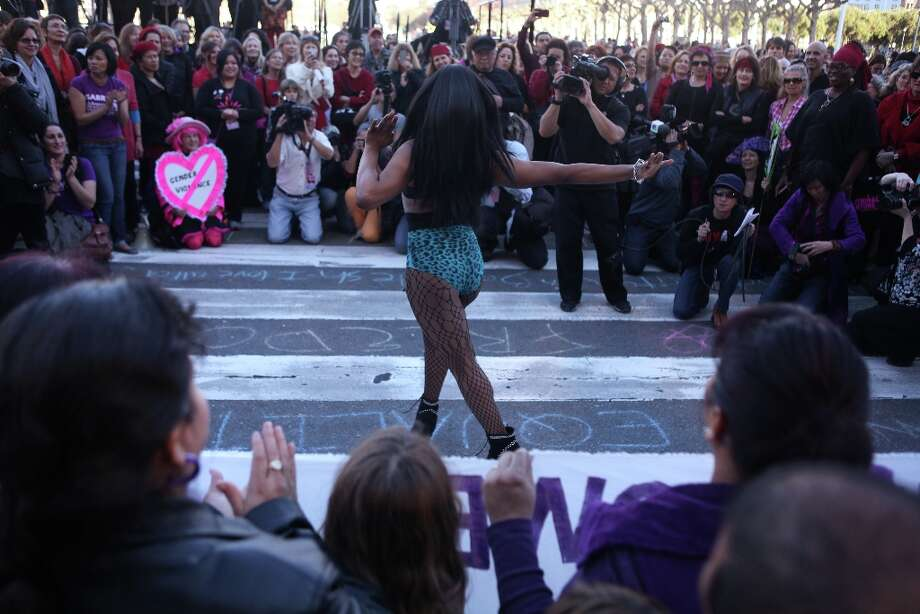 Drag queen supermodel Acid Fierce performs during a One Billion Rising event at City Hall on February 14, 2013 in San Francisco, Calif. Photo: Pete Kiehart, The Chronicle / ONLINE_YES