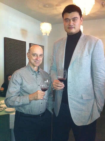 Yao Ming with Houston wine collector, author and blogger Denman Moody.