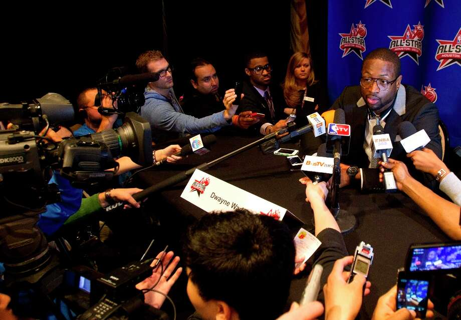 Dwyane Wade is interviewed during a media day. Photo: Cody Duty / © 2013 Houston Chronicle
