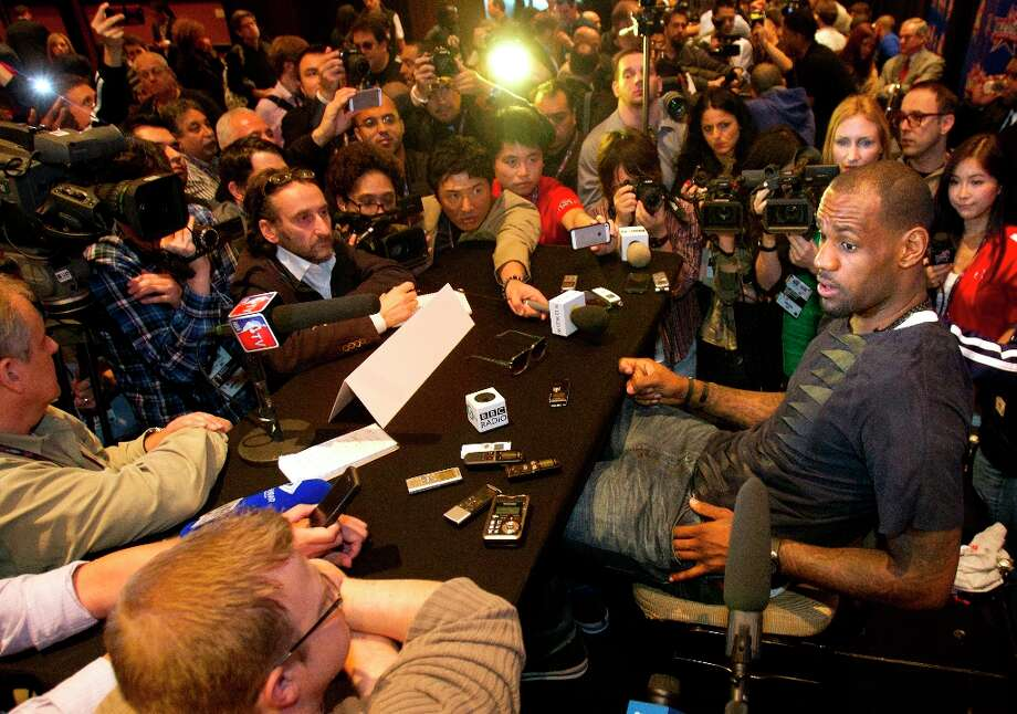 LeBron James is interviewed during a media day. Photo: Cody Duty / © 2013 Houston Chronicle