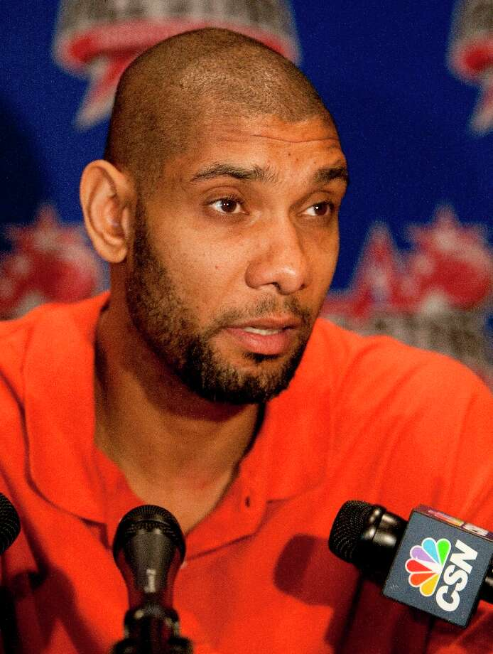 Tim Duncan is interviewed during a media day. Photo: Cody Duty / © 2013 Houston Chronicle