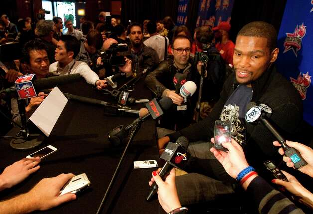 Kevin Durant is interviewed during a media day. Photo: Cody Duty / © 2013 Houston Chronicle