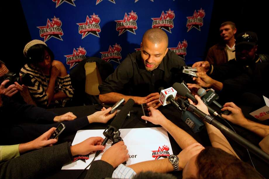 Tony Parker is interviewed during a media day. Photo: Cody Duty / © 2013 Houston Chronicle