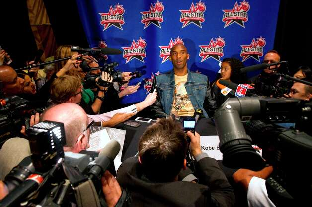 Kobe Bryant is interviewed during a media day. Photo: Cody Duty / © 2013 Houston Chronicle