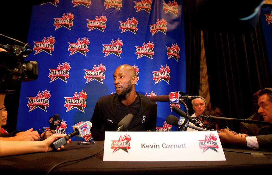 Boston Celtic's Kevin Garnett is interviewed during a media availability at the Hilton Americas Frid