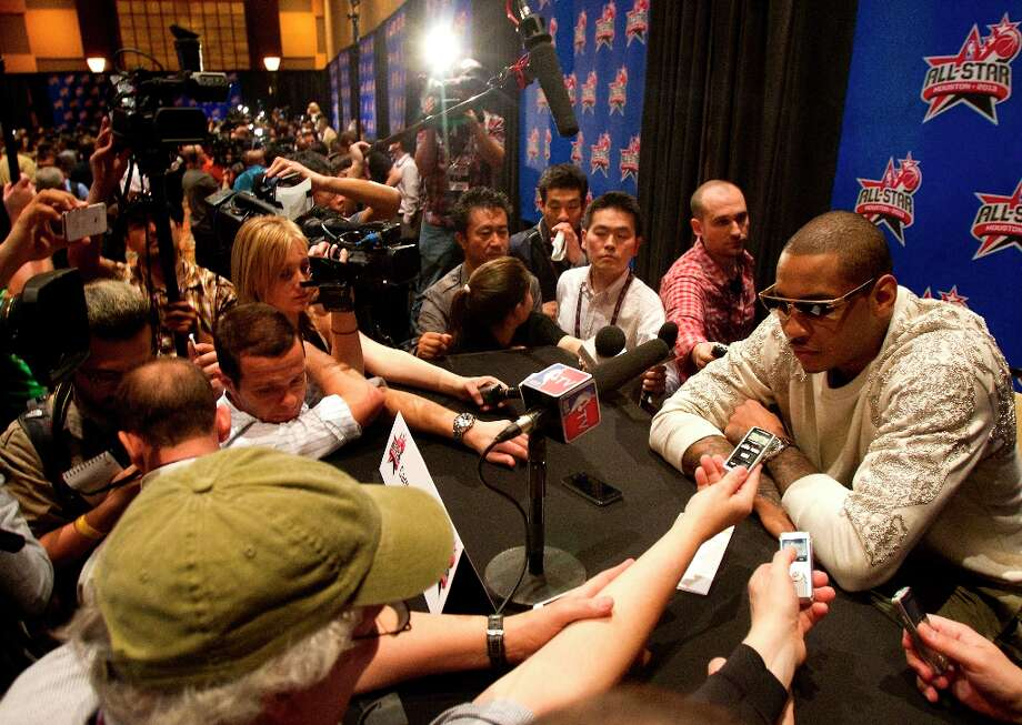 New York Knicks Carmelo Anthony is interviewed during a media availability at the Hilton Americas Friday, Feb. 15, 2013, in Houston. Photo: Cody Duty / © 2013 Houston Chronicle