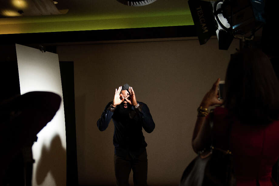 Houston Rockets shooting guard James Harden poses for an NBA Entertainment photo shoot during media activities for the NBA All-Star Game at the Hilton Americas hotel on Friday, Feb. 15, 2013, in Houston. Photo: Smiley N. Pool, Houston Chronicle / © 2013  Houston Chronicle