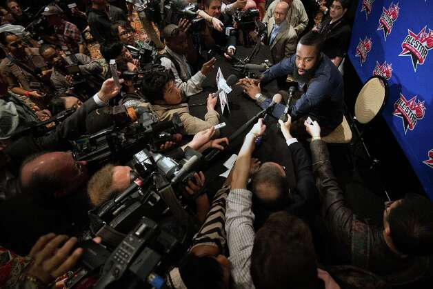 Houston Rockets shooting guard James Harden addresses a large crowd of media during a round of interviews for the NBA All-Star Game at the Hilton Americas hotel on Friday, Feb. 15, 2013, in Houston. Photo: Smiley N. Pool / © 2013  Houston Chronicle