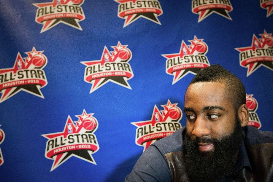 Rockets shooting guard James Harden addresses the media during a round of interviews. Photo: Smiley N. Pool / © 2013  Houston Chronicle