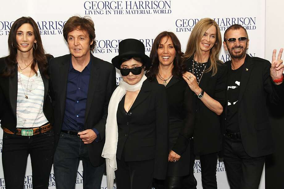 Nancy Shevell, Sir Paul McCartney, Yoko Ono, Olivia Williams and Barbara Bach attend the UK premiere of George Harrison: Living In The Material World at The BFI Southbank on October 2, 2011 in London, United Kingdom. Photo: Dave Hogan, Getty Images