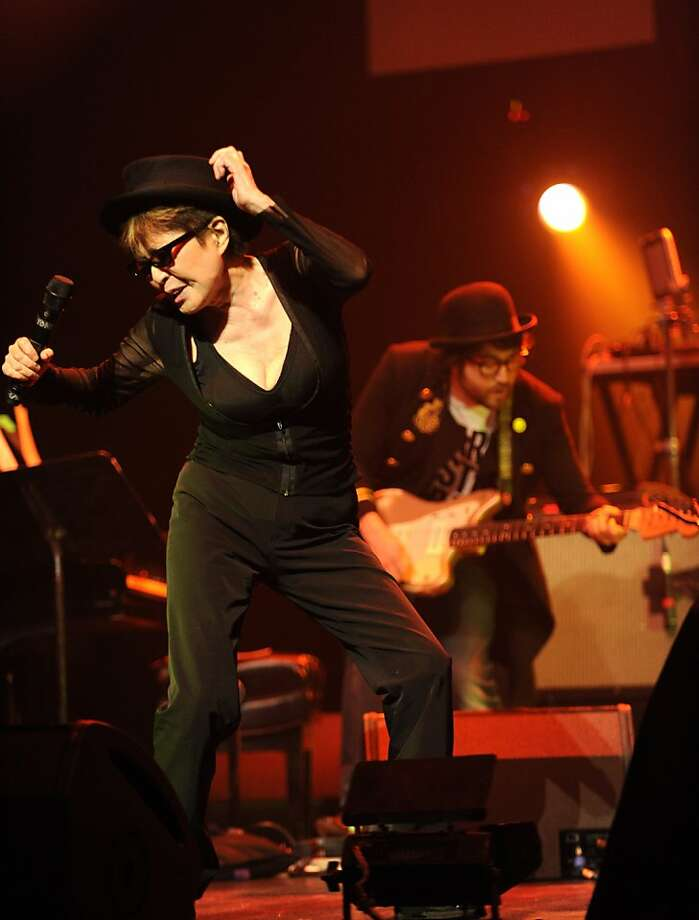 Yoko Ono and Sean Lennon perform with the Plastic Ono Band at Brooklyn Academy of Music on February 16, 2010 in Brooklyn, New York.  (Photo by Kevin Mazur/WireImage) Photo: Kevin Mazur