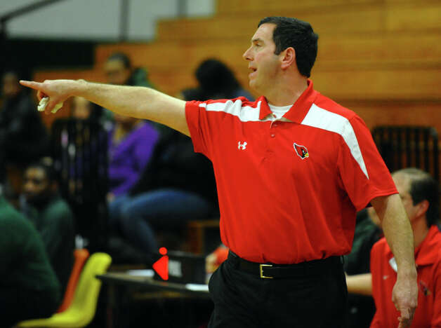 Greenwich Head Coach Bill Brehm during boys basketball action against Bassick in Bridgeport, Conn. on Friday February 15, 2013. Photo: Christian Abraham / Connecticut Post