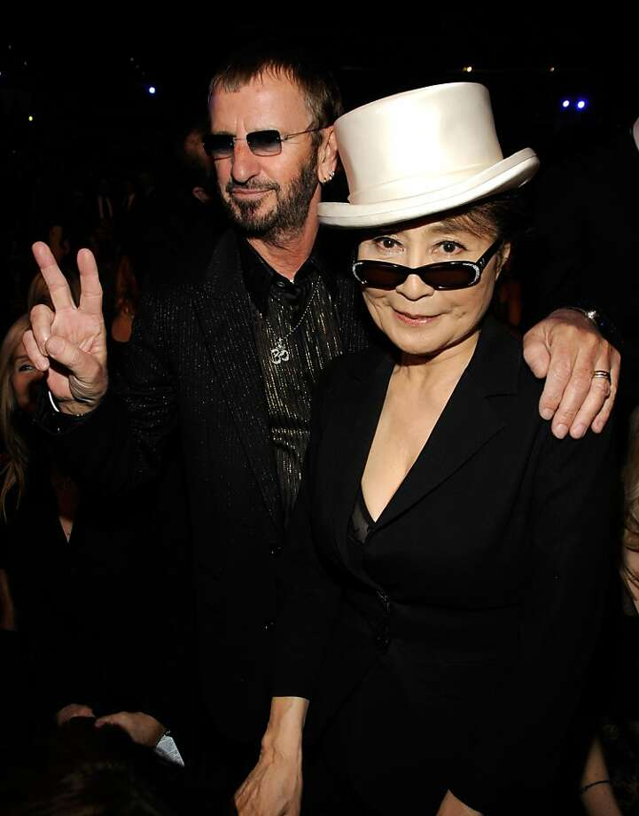 Musician Ringo Starr and Yoko Ono at the 50th Annual GRAMMY Awards at the Staples Center on February 10, 2008 in Los Angeles, California.  (Photo by Kevin Mazur/WireImage) Photo: Kevin Mazur