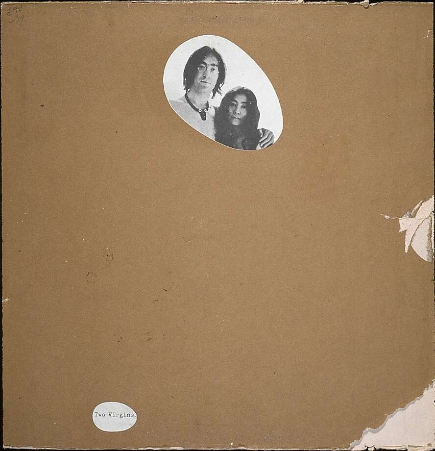 View of a censored version of the front cover of the record album 'Two Virgins,' by British musician John Lennon and Japanese-born musician and artist Yoko Ono, 1968. A plain brown sleeve covers the original art which features the two musicians both completely naked, save for Lennon's glasses and necklace; a pair of cut-outs reveal the album title and the musician's heads. (Photo by Blank Archives/Getty Images) Photo: Blank Archives