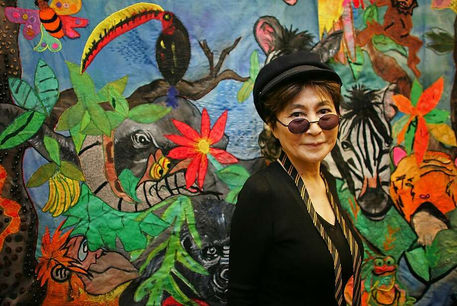 Yoko Ono views a piece of art work at Alderhey Children's Hospital as a guest of The Imagine Appeal on May 25, 2007 in Liverpool, England. Photo: Christopher Furlong, Getty Images