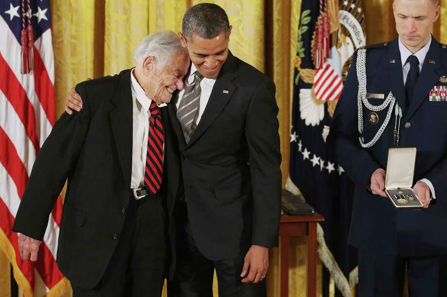 "U.S. President Barack Obama delivers remarks presents pioneering pediatrician Dr. Berry Brazelton the 2012 Presidential Citizens Medal, the nation's second-highest civilian honor, in the East Room of the White House February 15, 2013 in Washington, DC. ""Their selflessness and courage inspire us all to look for opportunities to better serve our communities and our country,"" Obama said about this year's recepients. Photo: Chip Somodevilla, Getty Images / 2013 Getty Images"