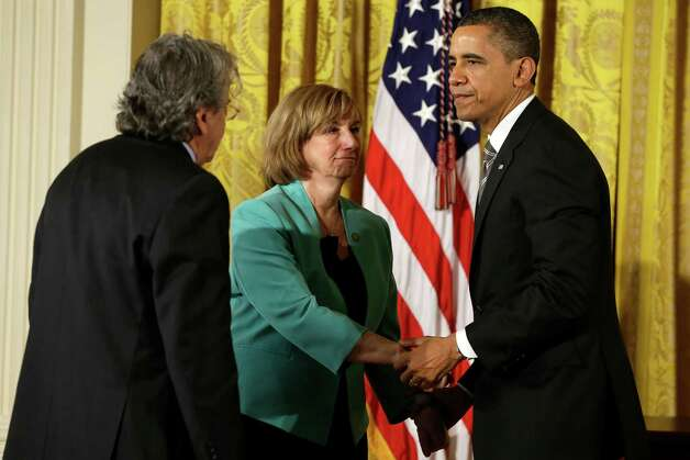 President Barack Obama greets Gillis Rousseau and Terri Rousseau, the parents of Sandy Hook Elementary School teacher Lauren Rousseau, Friday, Feb. 15, 2013, in the East Room of the White House in Washington, before presenting them with a 2012 Citizens Medal. Photo: Jacquelyn Martin, Associated Press/Jacquelyn Marti / Associated Press