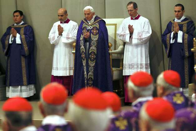 "The successor to 85-year-old Pope Benedict XVI (center), here observing Ash Wednesday, might be appreciably younger. ""It's a demanding and fast-paced world, and the pope has to be out in the world,"" San Angelo Bishop Michael Pfeifer says. Photo: Associated Press"