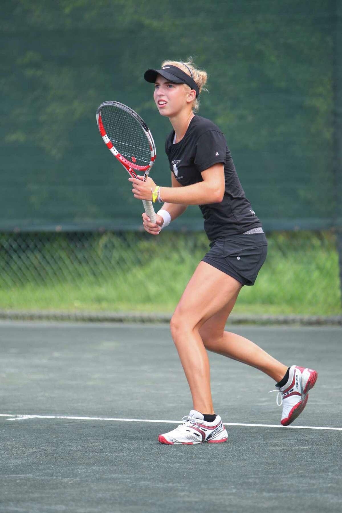Photo By David Kenas- Fairfielder Ellyse Hamlin prepares to return a shot during a 2012 match.