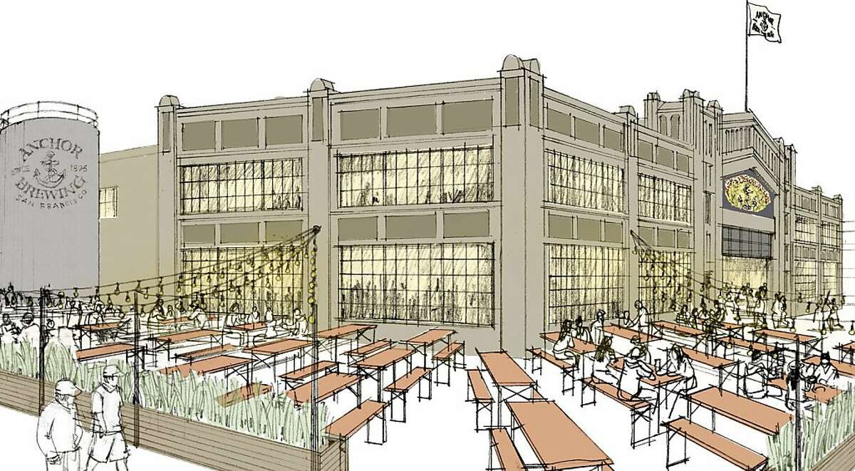 Artist renderings of the interior and exterior of the proposed Anchor Brewing's Pier 48 Brewery.