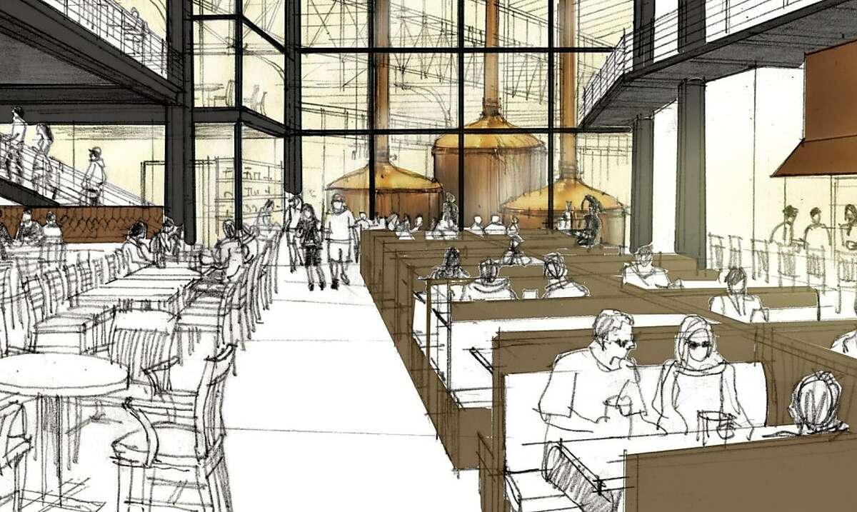 Artist renderings of the interior of the proposed Anchor Brewing's Pier 48 Brewery.