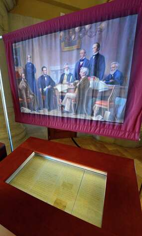 A draft of the Emancipation Proclamation on display in the War Room Friday, Feb. 15, 2013, at the State Capitol in Albany, N.Y. (Skip Dickstein/Times Union) Photo: SKIP DICKSTEIN