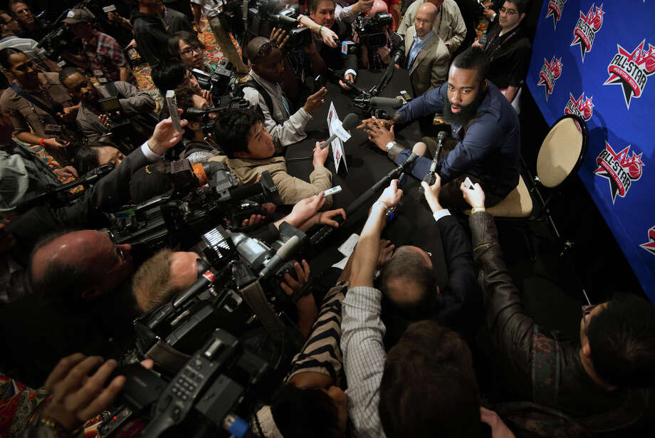 Rockets shooting guard James Harden addresses a large crowd of media during a round of interviews for the NBA All-Star Game. Photo: Smiley N. Pool, Houston Chronicle / © 2013  Houston Chronicle