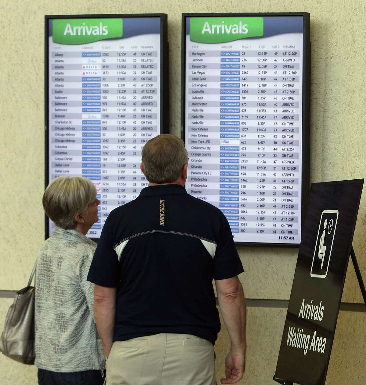 The flight board at Hobby Airport draws attention late last year. The Houston Airport System and Southwest Airlines say they are working with Customs to determine how many officers will be needed when international flights begin.