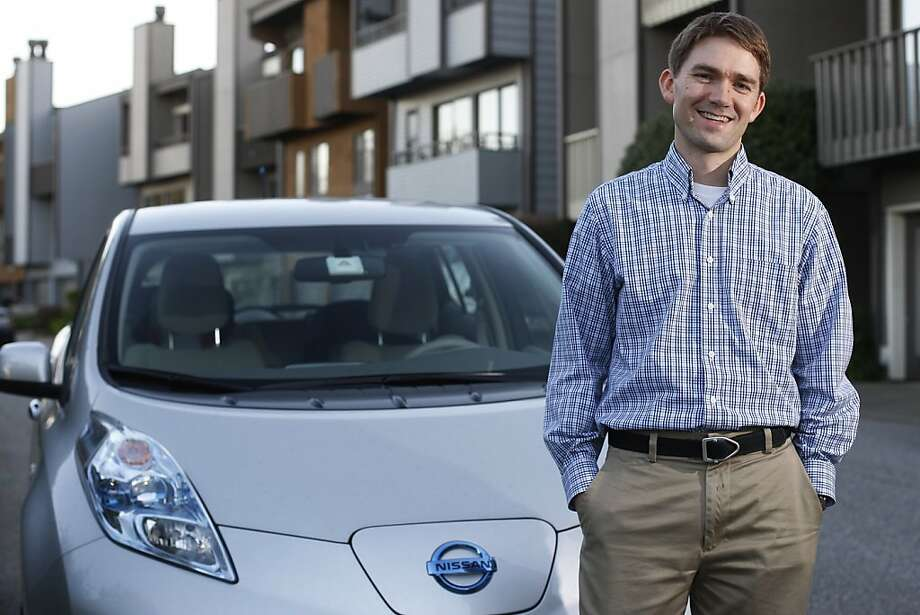 "Pennan Barry, who commutes from S.F. to Richmond in his all-electric Nissan Leaf, ran the numbers to justify his car. ""I wouldn't have done it if the math hadn't worked out,"" he says. Photo: James Tensuan, The Chronicle"