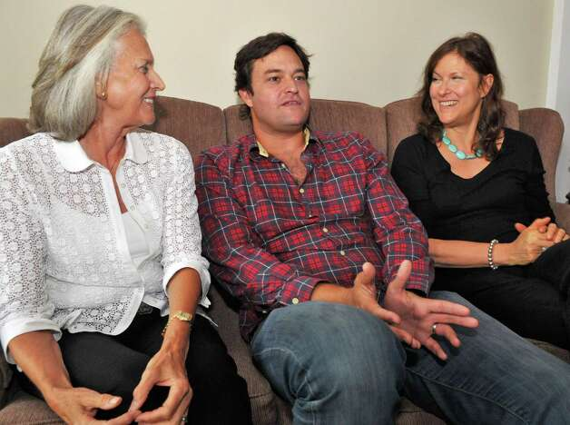 "Movie producer Jamie Patricof, center, his mother Susan Patricof , left, and aunt Amy Hatkoff on the set of ""The Place Beyond the Pines,"" in Schenectady Thursday Sept. 22, 2011.   (John Carl D'Annibale / Times Union) Photo: John Carl D'Annibale / 00014735A"