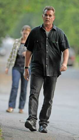 "Actor Ray Liotta walks from a the set of the movie ""The Place Beyond the Pines"" over to greet some eager fans waiting on Story Ave. in Niskayuna, N.Y. on Wednesday, Aug. 31, 2011.  (Lori Van Buren / Times Union) Photo: Lori Van Buren"