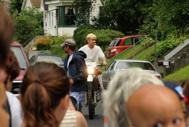 "Actor Ryan Gosling on the set of ""The Place Beyond The Pines""  on Watt Street in Schenectady, NY Tuesday Aug. 9,2011.( Michael P. Farrell/Times Union) Photo: Michael P. Farrell / 00014195A"