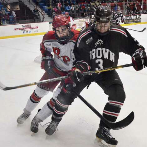 RPI's #21 Mark McGowan, left, and  Brown's #3 Matt Wahl during Friday night's game at the Houston Field House in Troy  Feb. 15, 2013.  (John Carl D'Annibale / Times Union) Photo: John Carl D'Annibale / 00021137A