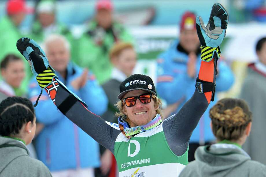 United States' Ted Ligety celebrates winning the gold medal after the men's giant slalom  at the Alpine skiing world championships in Schladming, Austria, Friday, Feb. 15, 2013. (AP Photo/Kerstin Joensson) Photo: Kerstin Joensson