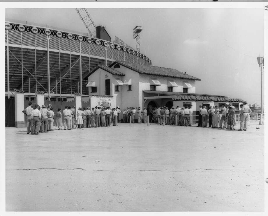 Buff Stadium was the site of minor league games for the Houston Buffs, a St. Louis Cardinals farm club. It was renamed Busch Stadium in 1955. / Houston Post